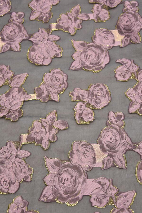 Органза с вышивкой черная розовые цветы (4476) - Фото 6