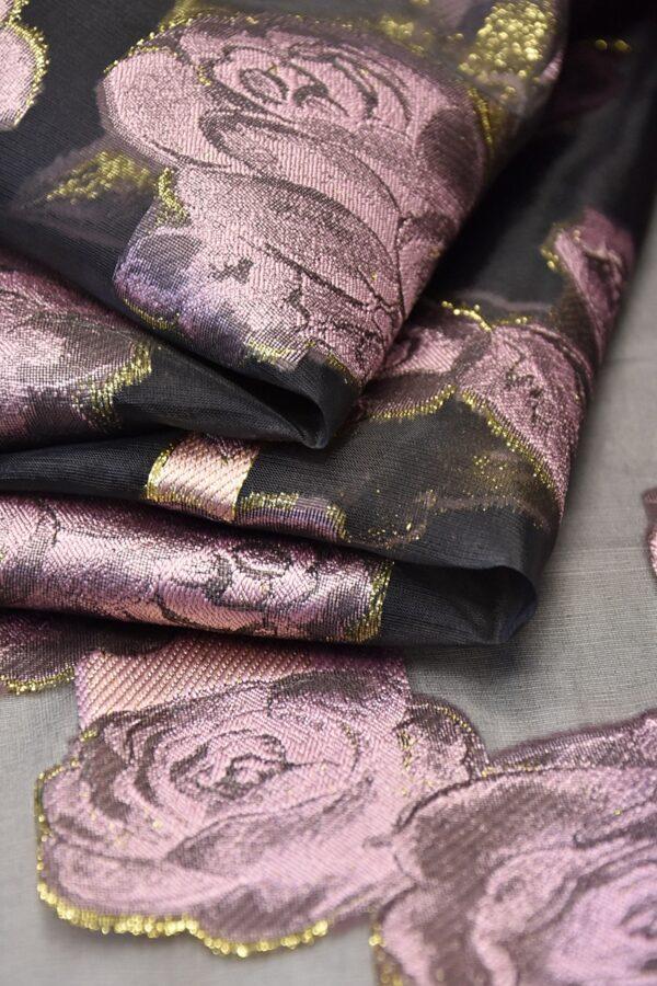 Органза с вышивкой черная розовые цветы (4476) - Фото 7
