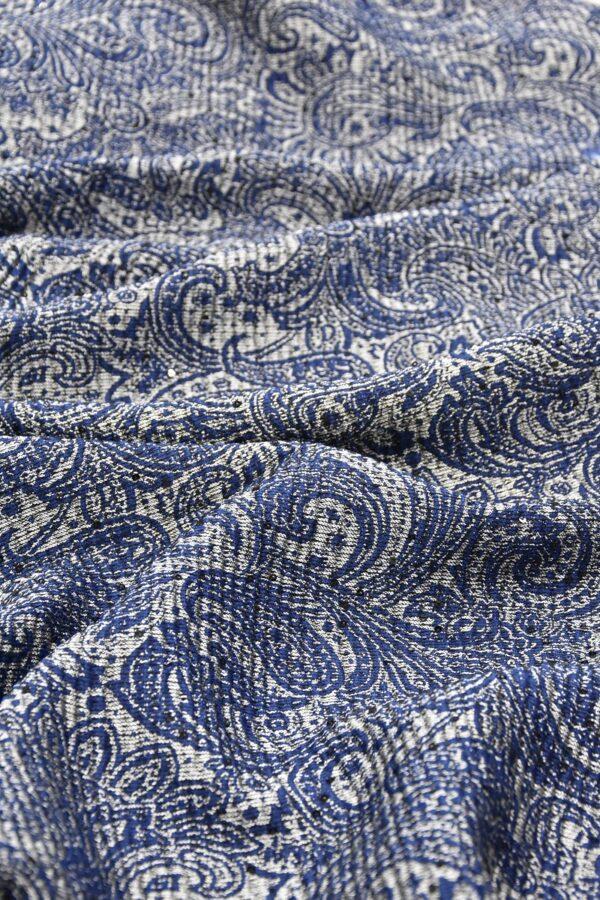 Жаккард серебряный с синим пейсли вышивка пайетками (4487) - Фото 6