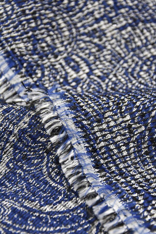 Жаккард серебряный с синим пейсли вышивка пайетками (4487) - Фото 9