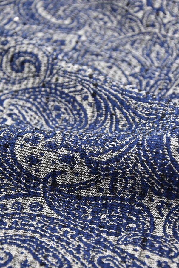 Жаккард серебряный с синим пейсли вышивка пайетками (4487) - Фото 7
