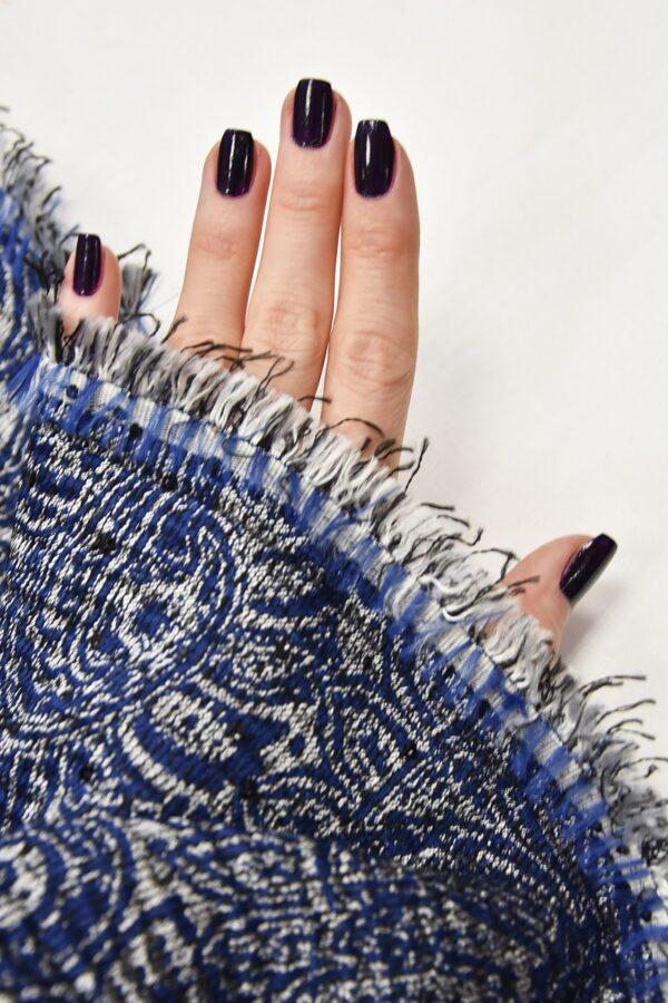 Жаккард серебряный с синим пейсли вышивка пайетками (4487) - Фото 11