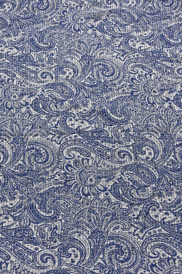 Жаккард серебряный с синим пейсли вышивка пайетками (4487) - Фото 10