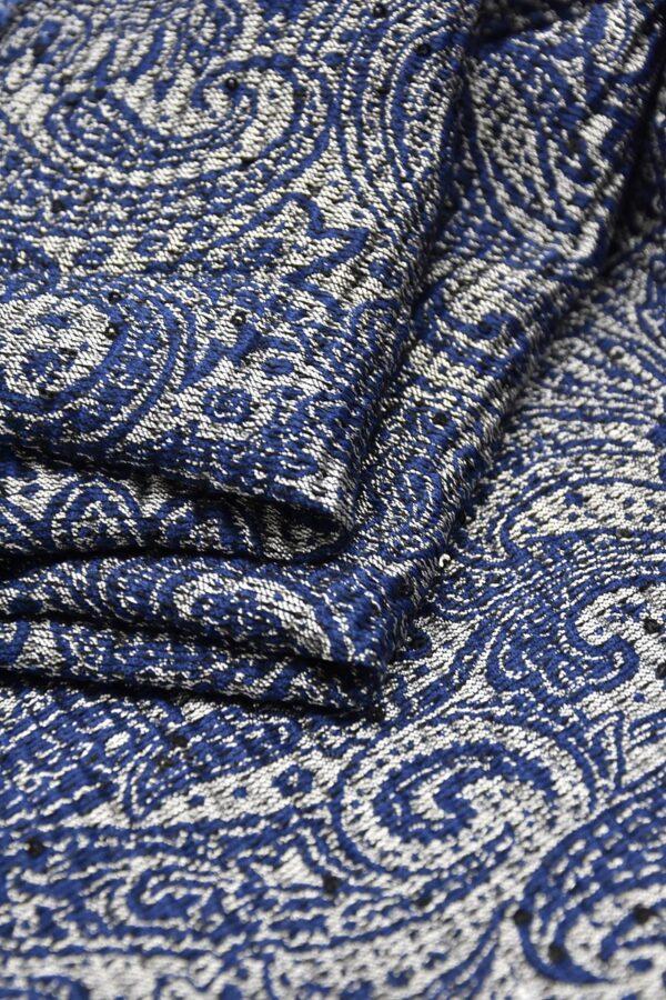 Жаккард серебряный с синим пейсли вышивка пайетками (4487) - Фото 8