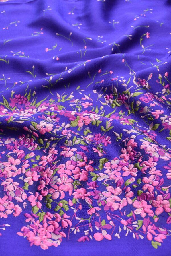 Жаккард купон 3Д розовые цветы на синем фоне (4490) - Фото 6