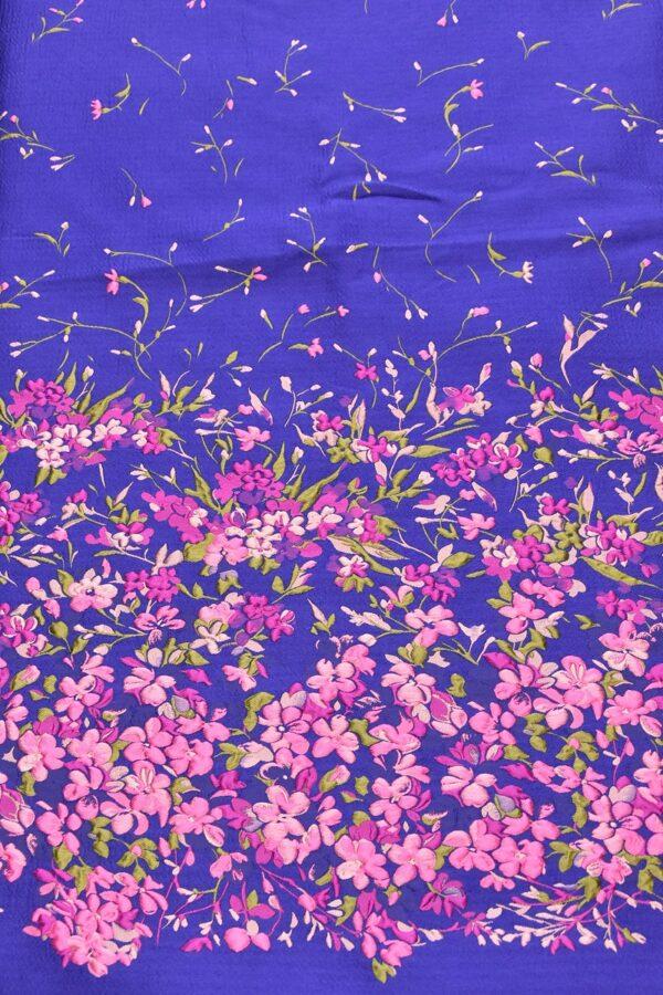 Жаккард купон 3Д розовые цветы на синем фоне (4490) - Фото 10