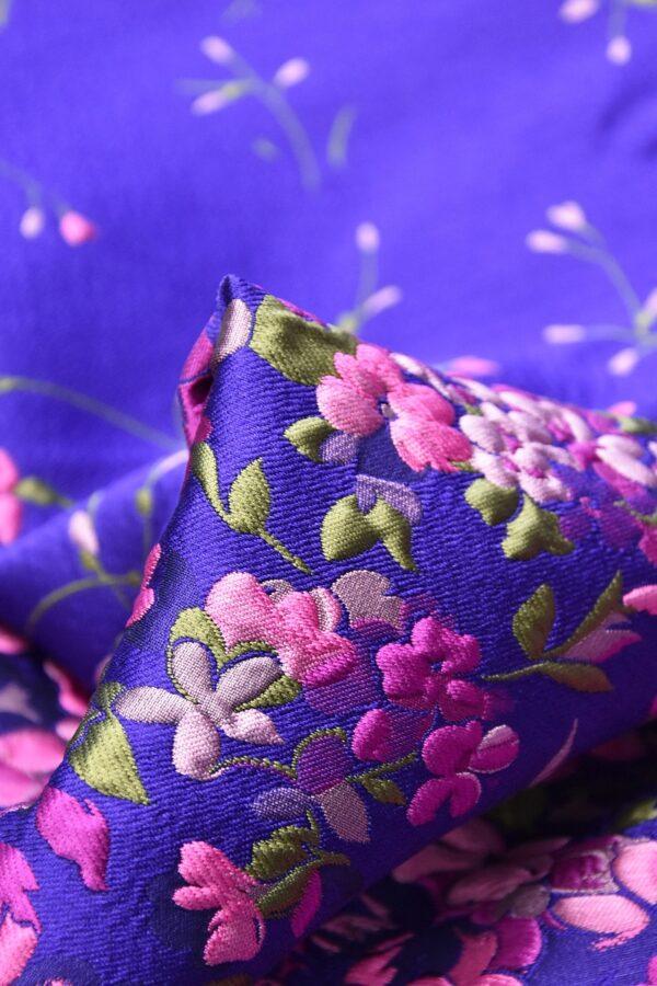 Жаккард купон 3Д розовые цветы на синем фоне (4490) - Фото 7
