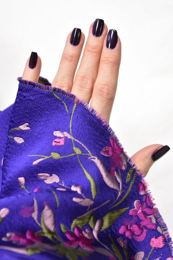 Жаккард купон 3Д розовые цветы на синем фоне (4490) - Фото 11