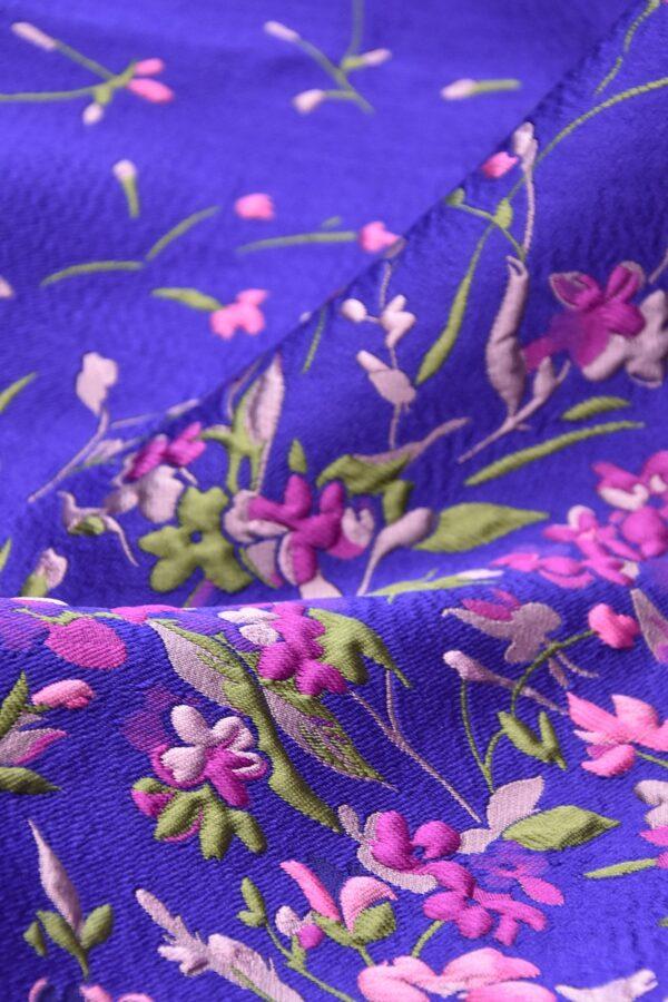 Жаккард купон 3Д розовые цветы на синем фоне (4490) - Фото 9