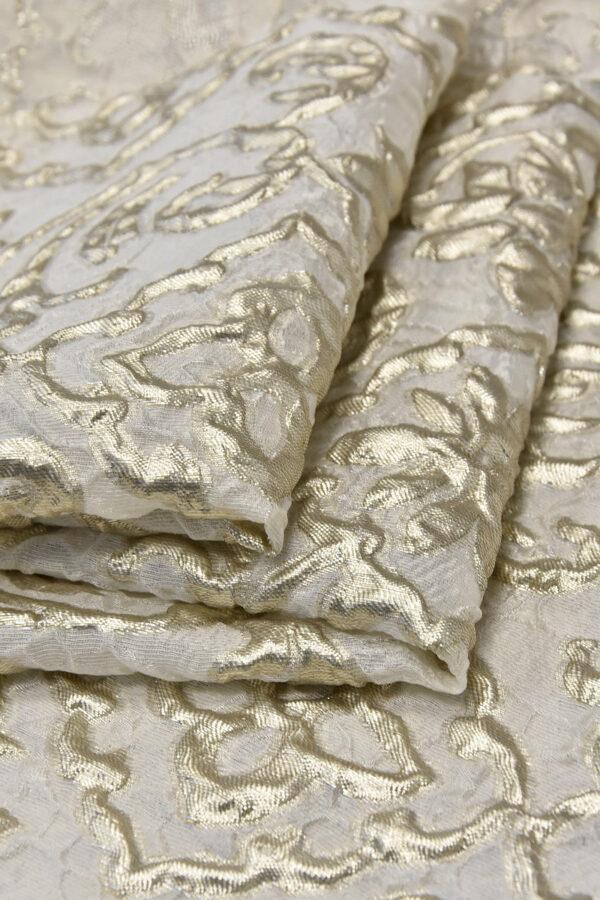 Органза с вышивкой 3Д платиновые цветы на молочном (4502) - Фото 8