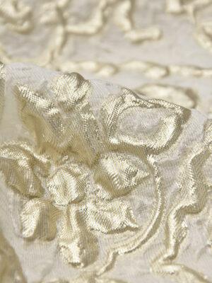 Органза с вышивкой 3Д платиновые цветы на молочном (4502) - Фото 13