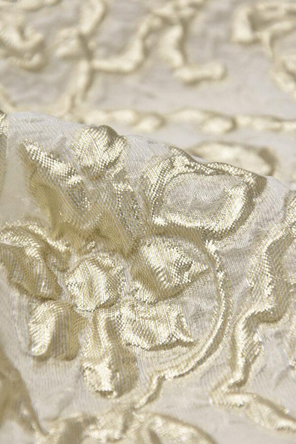 Органза с вышивкой 3Д платиновые цветы на молочном (4502) - Фото 7