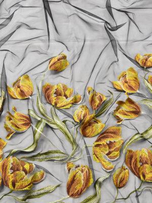 Вышивка на сетке стрейч желтые тюльпаны на черном (4505) - Фото 18