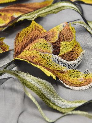 Вышивка на сетке стрейч желтые тюльпаны на черном (4505) - Фото 19