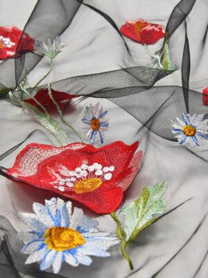 Вышивка на сетке стрейч маки ромашки на черном (4506) - Фото 17