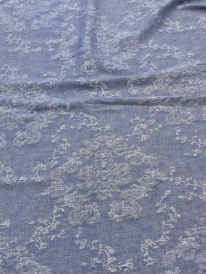 Лен синий меланж с вышивкой (4515) - Фото 15