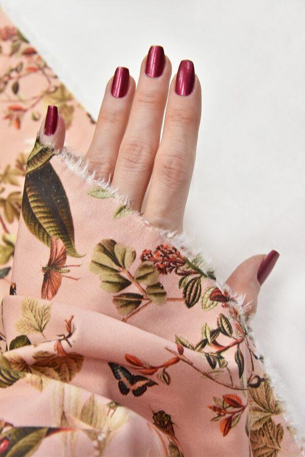 Штапель стрейч цветы и бабочки на розовом (4528) - Фото 10