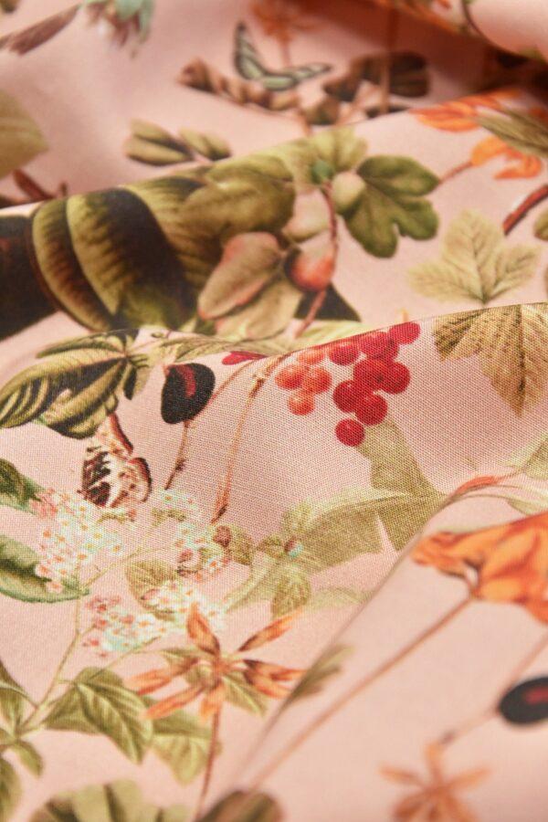 Штапель стрейч цветы и бабочки на розовом (4528) - Фото 9