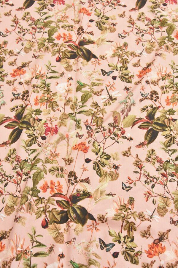 Штапель стрейч цветы и бабочки на розовом (4528) - Фото 6