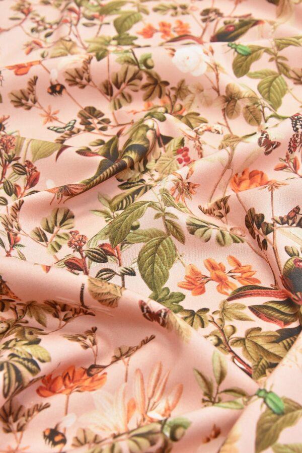 Штапель стрейч цветы и бабочки на розовом (4528) - Фото 11