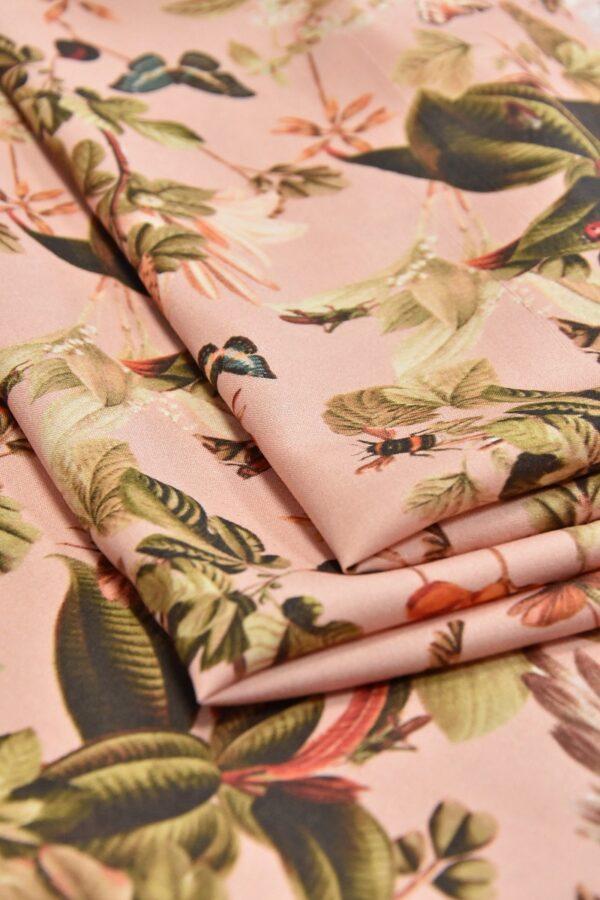 Штапель стрейч цветы и бабочки на розовом (4528) - Фото 8