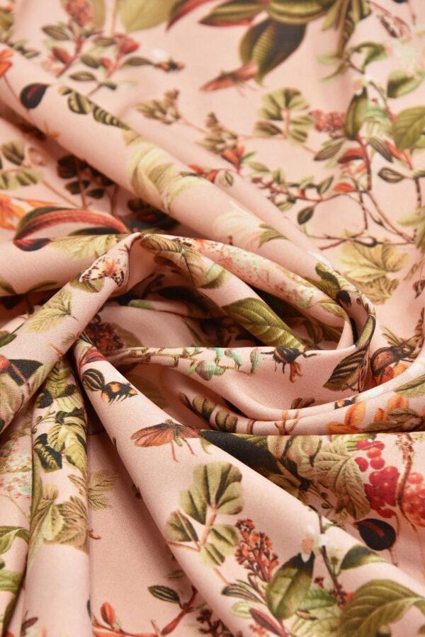 Штапель стрейч цветы и бабочки на розовом (4528) - Фото 7