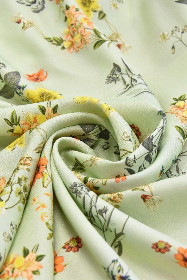 Креп вискоза полевые цветы на нежно мятном поле (4530) - Фото 7