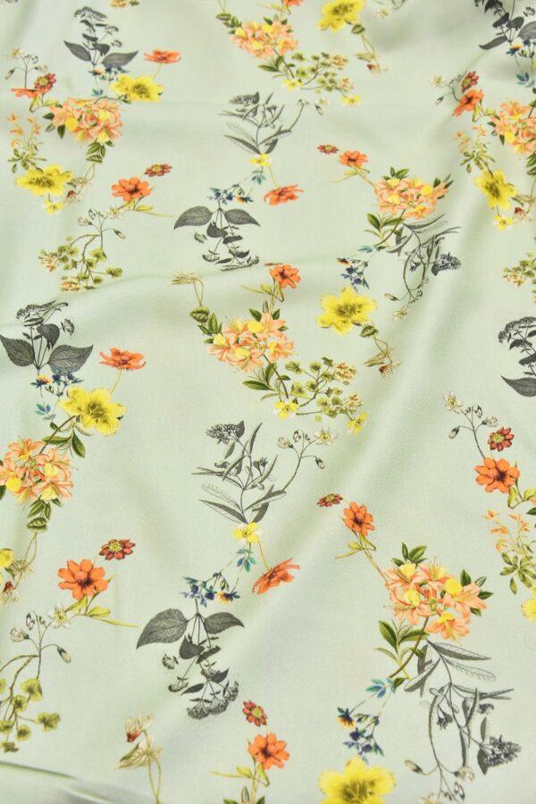 Креп вискоза полевые цветы на нежно мятном поле (4530) - Фото 6