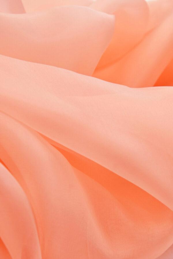 Органза шелк кораллово лососевый (4535) - Фото 9