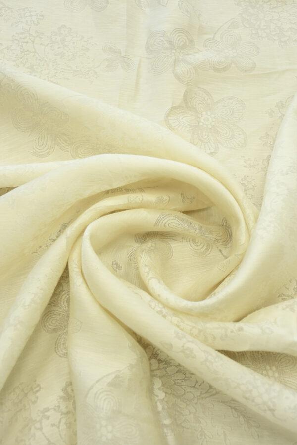 Органза деворе светло-бежевый оттенок и цветочный узор (4551) - Фото 8
