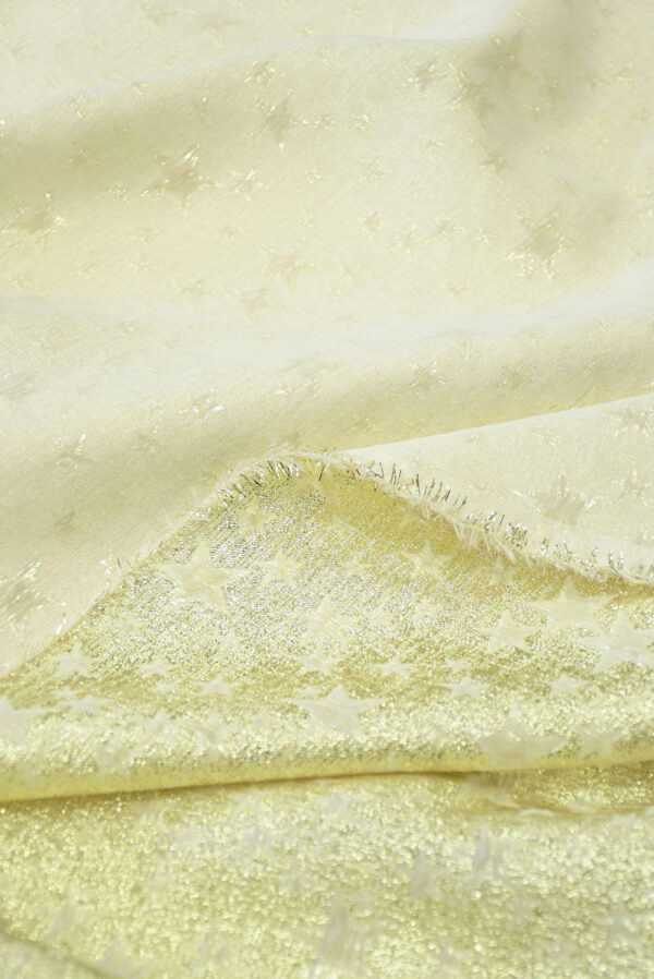 Шелковый с вышивкой кремовый с золотыми звездами (4574) - Фото 9