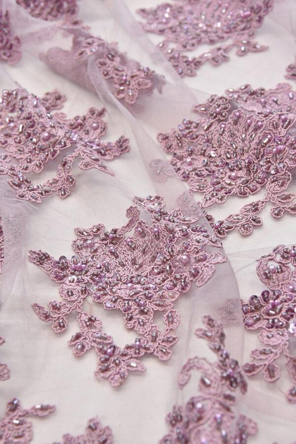 Вышивка на сетке флористический узором пыльная роза (4578) - Фото 7