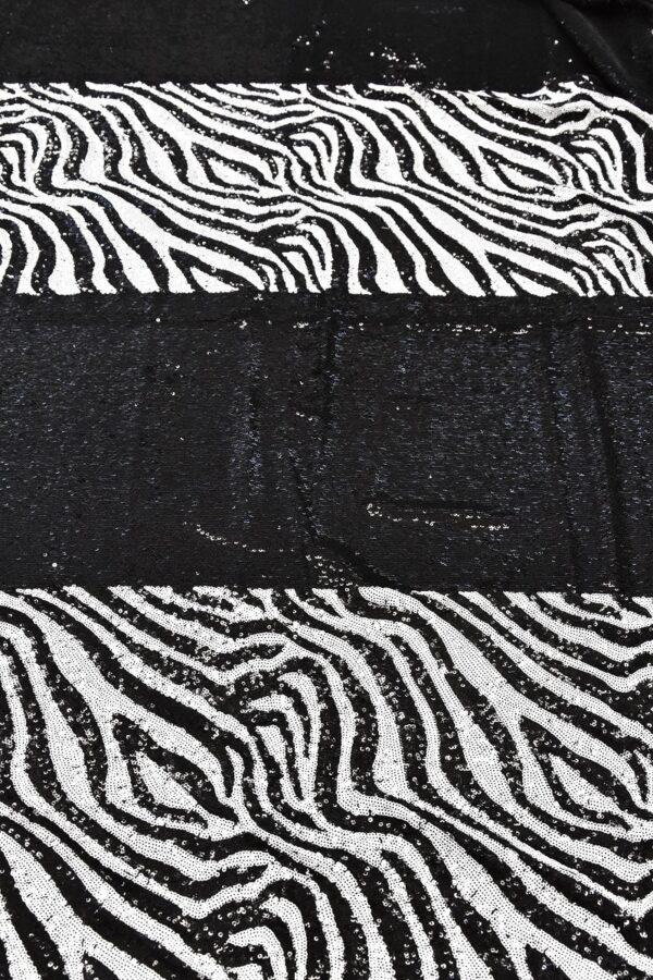 Пайетки черные с зебровым рисунком на трикотаже (4617) - Фото 7