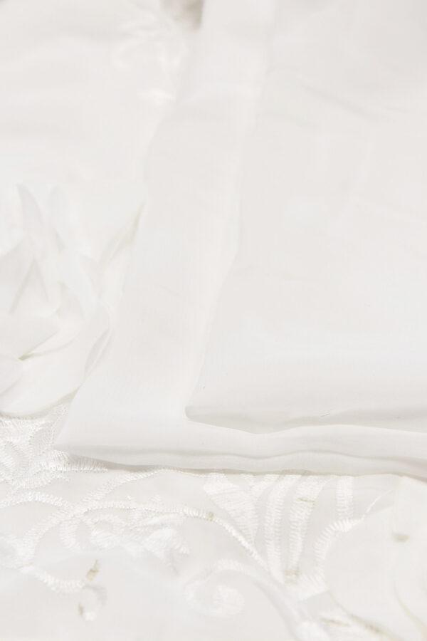 Шифон с вышивкой белый 3Д цветы (4678) - Фото 9