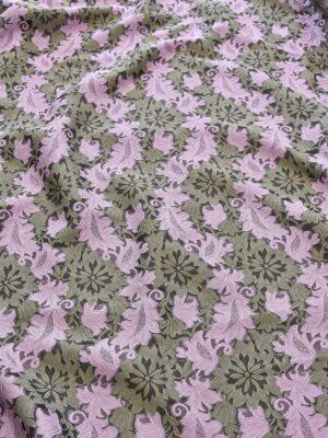 Органза с вышивкой филькупе оливковые цветы розовые листья (4719) - Фото 13