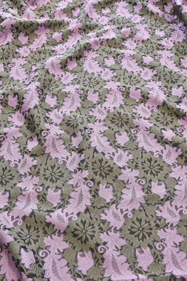 Органза с вышивкой филькупе оливковые цветы розовые листья (4719) - Фото 6