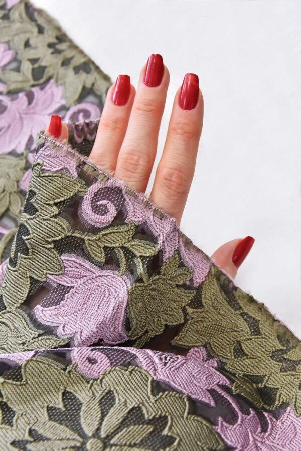 Органза с вышивкой филькупе оливковые цветы розовые листья (4719) - Фото 11