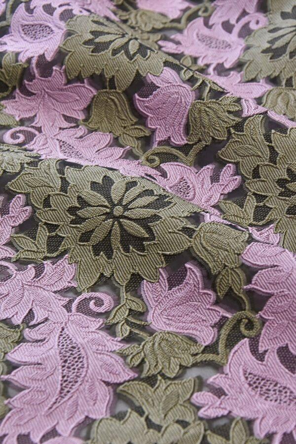 Органза с вышивкой филькупе оливковые цветы розовые листья (4719) - Фото 10