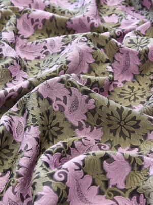Органза с вышивкой филькупе оливковые цветы розовые листья (4719) - Фото 14