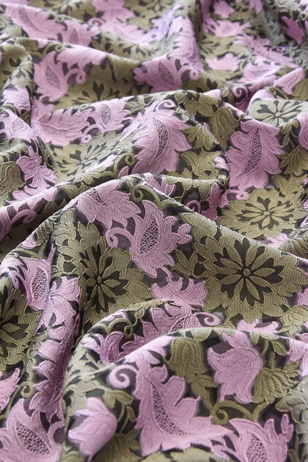 Органза с вышивкой филькупе оливковые цветы розовые листья (4719) - Фото 7