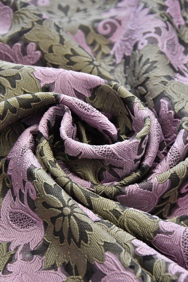 Органза с вышивкой филькупе оливковые цветы розовые листья (4719) - Фото 8