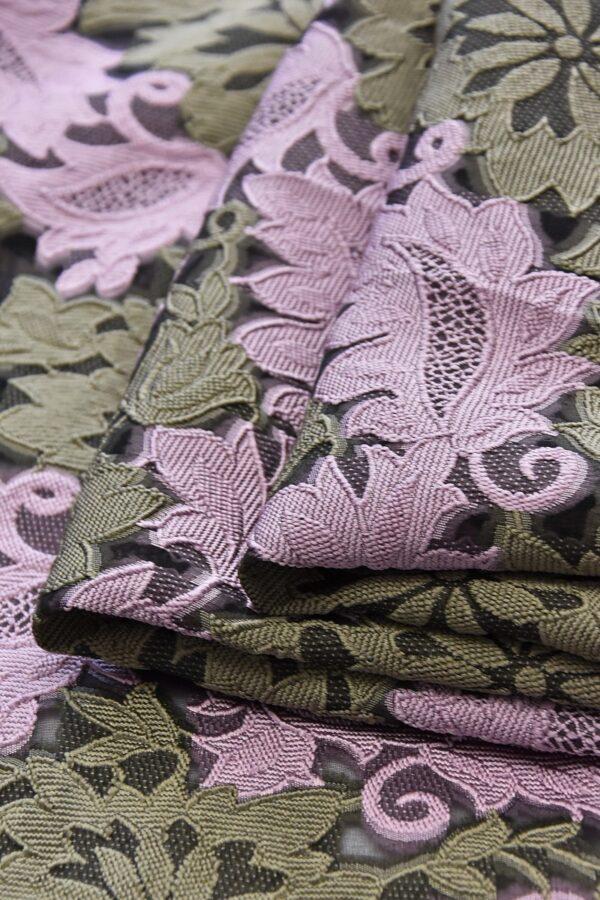 Органза с вышивкой филькупе оливковые цветы розовые листья (4719) - Фото 9