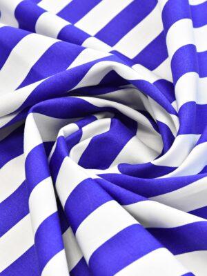 Хлопок стрейч белый в синюю полоску (4748) - Фото 15