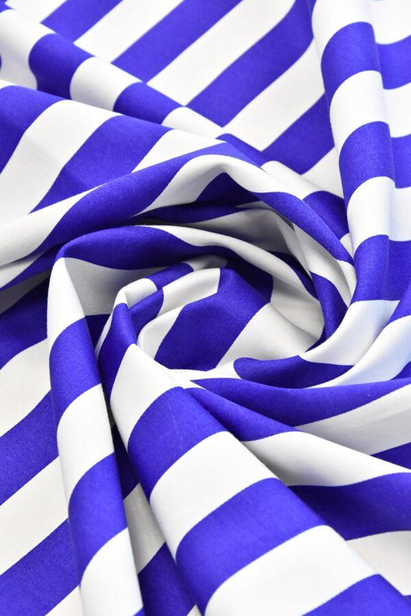 Хлопок стрейч белый в синюю полоску (4748) - Фото 7