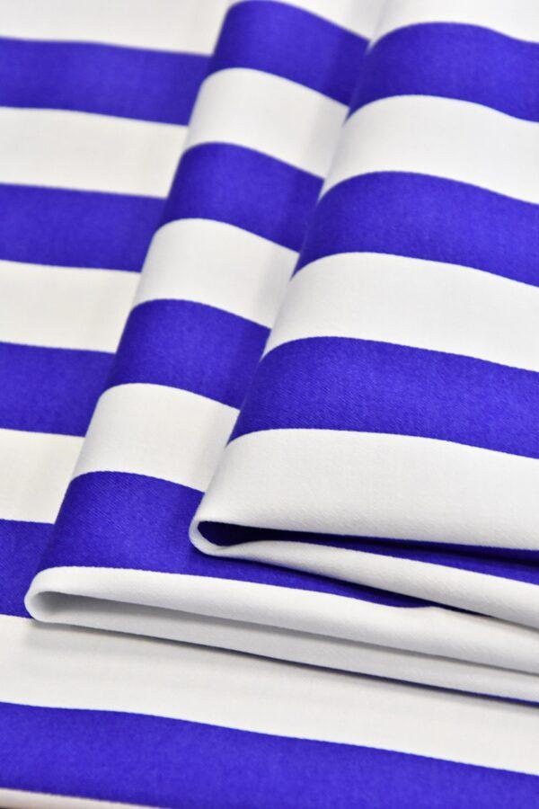 Хлопок стрейч белый в синюю полоску (4748) - Фото 8