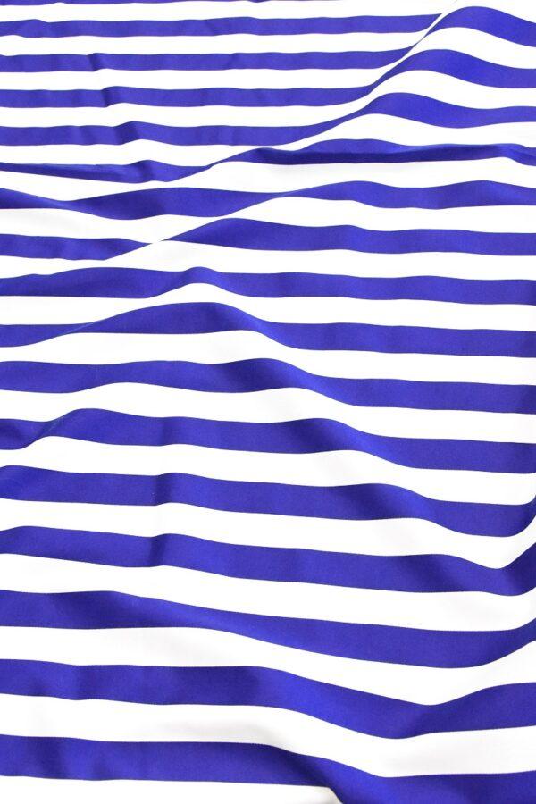 Хлопок стрейч белый в синюю полоску (4748) - Фото 6