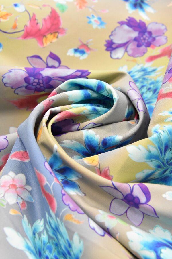 Хлопок с голубыми и фиолетовыми пионами (4758) - Фото 7