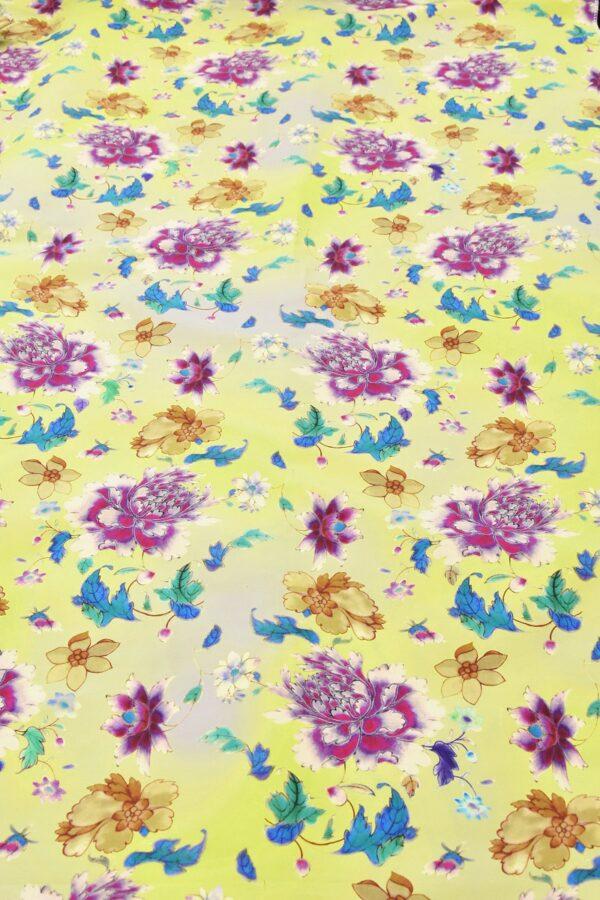 Хлопок с цветочным принтом желтый пионы нарциссы (4761) - Фото 6