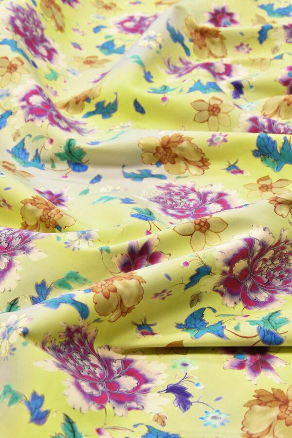 Хлопок с цветочным принтом желтый пионы нарциссы (4761) - Фото 11