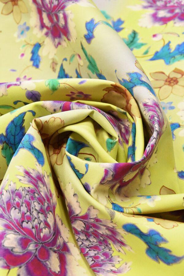 Хлопок с цветочным принтом желтый пионы нарциссы (4761) - Фото 7